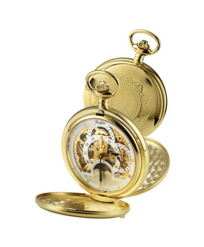 Mechanical Gold Plated Twin Time Zone Pocket Watch With Chain